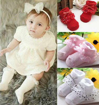 Ankle Socks Baby Girls Dots Cotton Princess Toddler Bowknot Lace Socks Cozy