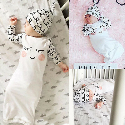 Cotton Sleepy Eyes+Rosy Cheeks Outfit Baby Gown Hat Infant Newborn Gift 2pcs Set
