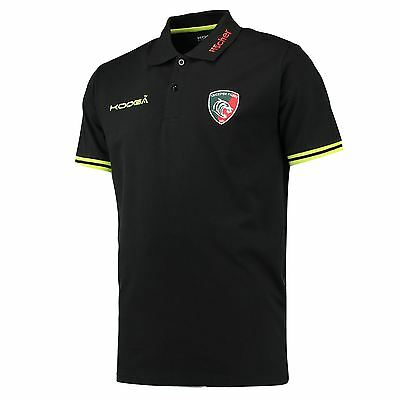 KooGa Mens Gents Rugby Leicester Tigers Polo Shirt Top - Black/Fluro Green
