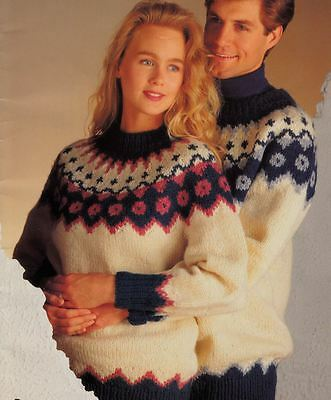Knitting Pattern Ladies Mens Fairisle Wave Christmas Jumpers