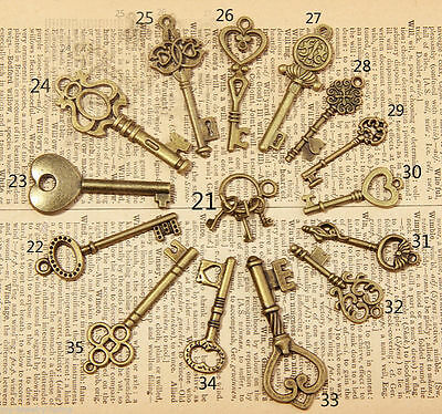 15Pcs Vintage Antique Old Look Skeleton Key Lot Crown Bow Charm Mixed Random