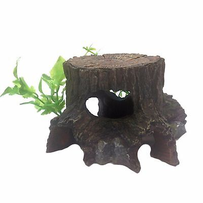 Aquarium Ornament Tree Stump With Plant & Cave Decoration