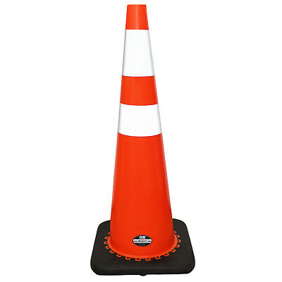 "6 Pack 36"" RK Orange Safety PVC Traffic Cone, Black Base w/ 2 Reflective Tape"
