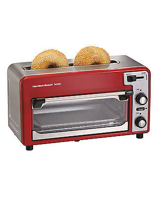 Hamilton Beach 22722 Toastation Toaster Oven w/Wide 2 Slice Toaster Combo, Red