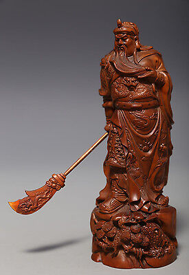 "Excellent Old Chinese Boxwood Hand Carving ""GuanGong"" Sculpture Statue NA196"