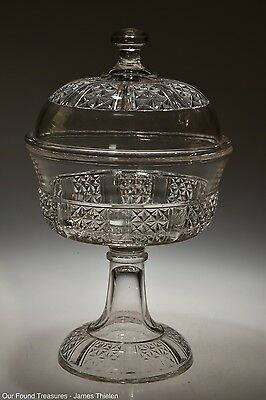 "c. 1885 No. 17D  SIX PANEL FINE CUT Dalzell CRYSTAL 6 1/4"" Compote w/Cover"