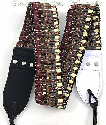 """Earth Tribal"" Knitted Leather Ends  Electric, Acoustic, Bass  Guitar strap"