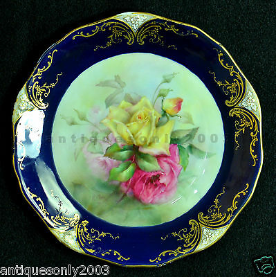RARE Antique Royal Worcester Rose Hand Painted Porcelain Plate HENRY HARRY CHAIR