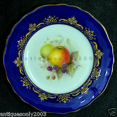 RARE Royal Worcester Fruit Hand Painted Cabinet Plate RICHARD SEBRIGHT SIGNED