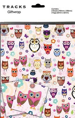 Funny Cute Owls On Pink Gift Wrap Present Wrapping Paper With Matching Tags