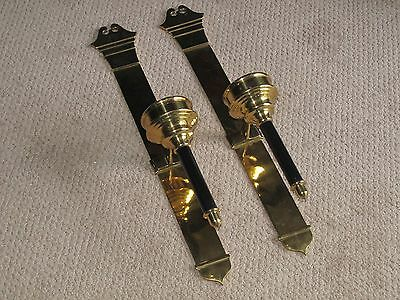 """TWO  26"""" solid brass SCONCES EXCOND 7LBS EA. VINTAGE SCONCES HOME DECOR LIGHTING"""