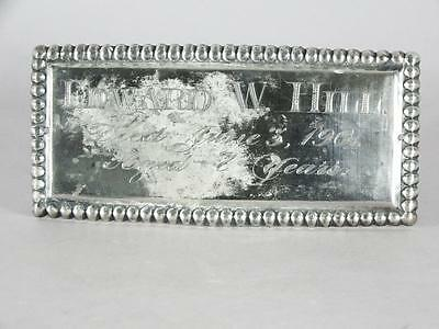 ANTIQUE SILVER PLATED COFFIN PLATE c.1901 ~ 7 YEAR OLD CHILD~ CASKET PLAQUE