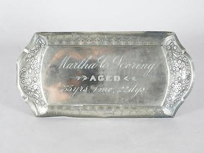 Victorian Silver Plated Coffin Plate ~ 55 Year Old Woman~ Casket Plaque