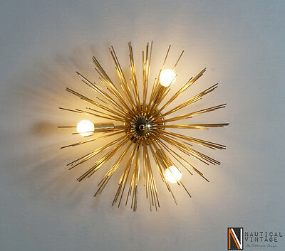 Mid century Sputnik Wall Sconce Light - 3 Bulbs Brass Urchin Sputnik Wall Lamp