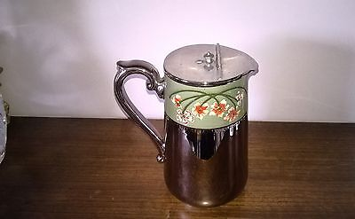 Gibson & Sons - Silver Lustre With Beautiful Enamel Coffee Pot Rare Collectible