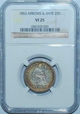 1853 NGC VF25 Seated Liberty Quarter Arrows & Rays