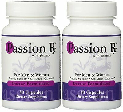 Passion Rx w/ Yohimbe 30 Caps 2 Bottles, Herbal Aphrodisiac by Advance Physician