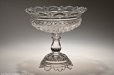 """c. 1886 No. 100 DAISY & BUTTON W/LACE EDGE by Belmont CRYSTAL 7.5"""" Open Compote"""