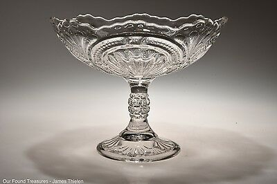 "c. 1899 ADMIRAL AKA RIBBED ELLIPSE by Bryce, Higbee CRYSTAL 8 1/8"" Open Compote"