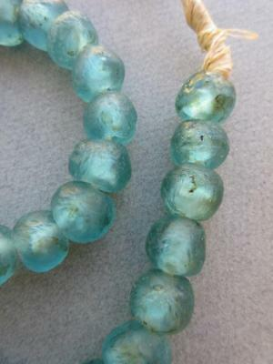 African Turquoise Glass Beads [65663]