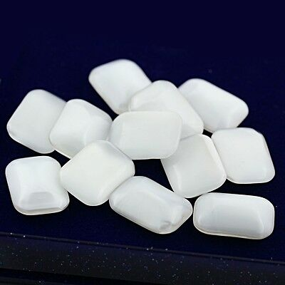 Plastic Stones Opaque Milky Pearl White Octagon Cut 18x13mm Lot 12pcs