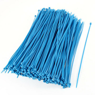 380 Pcs 4mm x 200mm Cable Wire Cord Zip Ties Wrap Straps Blue