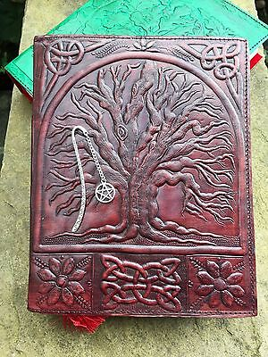 Handmade Leather Book of Shadows ~Handmade Paper ~ Brown Tree of Life Design