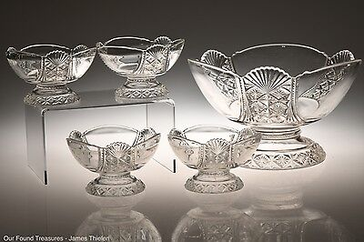 c. 1888 No. 900 HARTLEY by Richards & Hartley CRYSTAL 5 Piece Berry Bowl Set