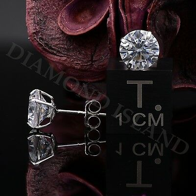 2 Ct Solid 14K White Gold Basket Round Brilliant Cut Solitaire Earrings Studs