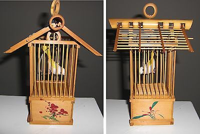 Vintage handmade bamboo bird cage with hanging hook 3.5x6inches
