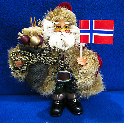 NORWAY - Curly Hair Santa Claus Christmas Ornament with NORWEGIAN Flag
