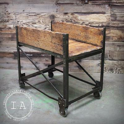 Vintage Industrial ca 1950's Factory Cart Console Table