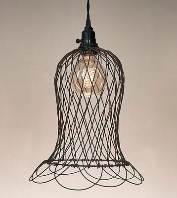 Wire Bell Pendant Hanging Light Lamp Vintage Rustic Shabby Chic
