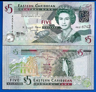 Eastern Caribbean States P-47 5 Dollars ND 2008 Queen Elizabeth Uncirculated