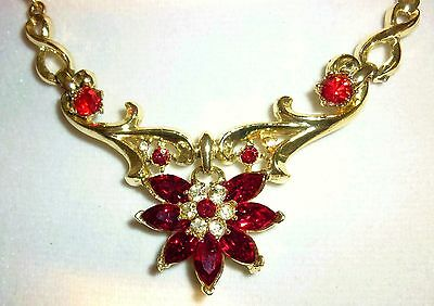 """Sparkling Vintage 16"""" Coro Necklace ~ Ruby Red Rhinestones ~ Gold Tone Setting"""