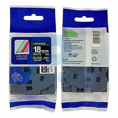 """2PK White on Black Tape TZ-345 Compatible for Brother TZ345 P-Touch 3/4"""" 18mm 8m"""
