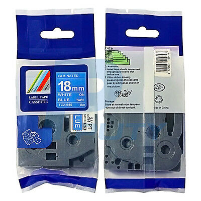"""2PK Compatible for Brother  White on Blue Tape TZ-545 TZ545 P-Touch 3/4"""" 18mm 8m"""