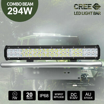 "20 inch 294W CREE LED Light Bar + 23"" Silver Number Plate Frame Mount Bracket"