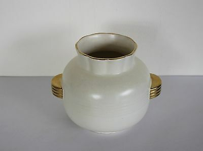 Crown Devon Art Deco Vase Cream Gold Trim Handles Ribbed around the Middle