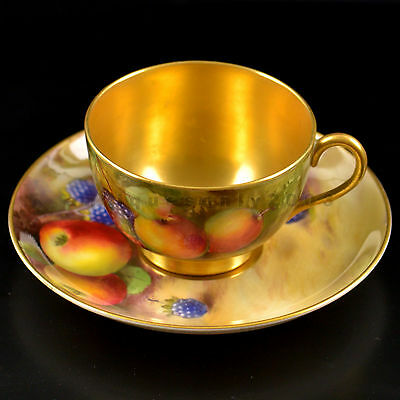 Royal Worcester Fruit Hand Painted Cup & Saucer by Reginald Austin & William Bee