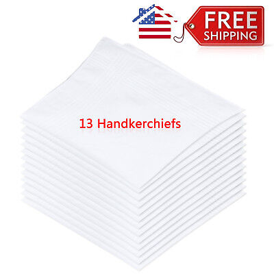 Handkerchiefs 13 Plain Solid White Mens Handkerchief Cotton Poly Permanent Press