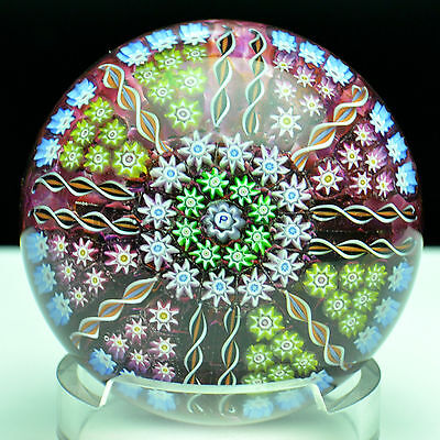 PERTHSHIRE PP5 Millefiori Translucent Ground Art Glass Paperweight SIGNED #1614