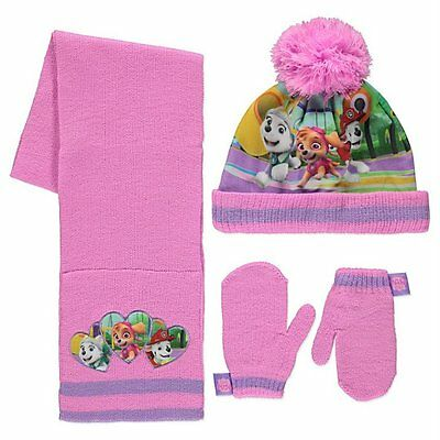George Girls Official Paw Patrol Bobble Hat Scarf & Mittens Set