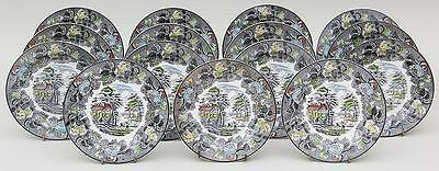 "(15) Wood & Sons English Scenery Gray Multicolor 7 7/8"" Salad Plates"