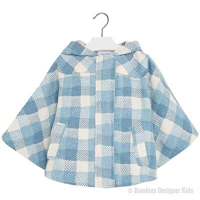 Mayoral 4351/084 Girls Blue Check Poncho Size 7 Years Only (New)