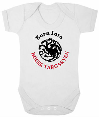 GAME OF THRONES Baby Bodysuit/Grow/Vest, Newborn Gift, BORN INTO HOUSE TARGARYEN