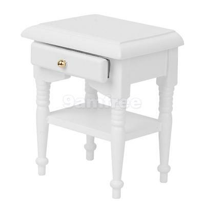 White Wooden Bedside Night Table for 1/12 Dolls House Miniature Accessory