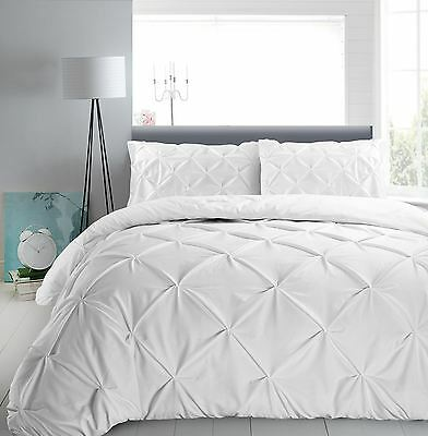 Hotel Quality 100% Cotton T180 Pinch Pleat Pintuck Diamond Duvet Cover Set