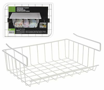 Under Shelf Storage Basket White Wire Kitchen Rack Holder New Stable