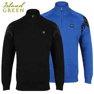 """""""60% Off"""" Island Green Mens 1/4 Zip Lined Thermal Argyle Golf Sweater / Jumper"""